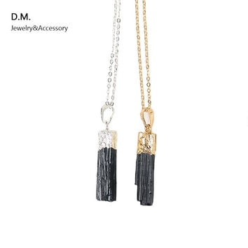 New Design Gold Silver Dipped Black Tourmaline Pendant Necklace Raw Stone Schorl Chakra Healing Crystal Point Pendant Colar