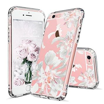 iPhone 6 Case, iPhone 6s Case Clear, MOSNOVO White Floral Flower Petal Pattern Printed Clear Design Transparent Plastic Hard Back with TPU Bumper Gel Protective Cover for Apple iPhone 6 6s (4.7 Inch)