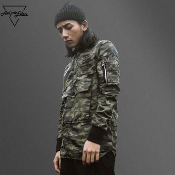 ca qiyif Army  Camo Large Pocket Pull Over