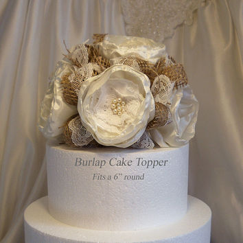 Burlap Cake Topper, Natural Burlap and Lace, ivory silk peony fabric flowers and pearls.