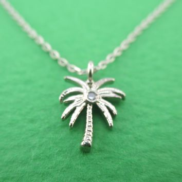 Tiny Little Palm Tree Shaped Pendant Necklace in Silver