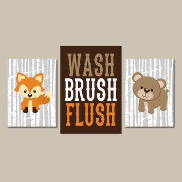 WOODLAND Bathroom Wall Art, Woodland Animal Bath, Child Bath Decor, Shared Kid Bathroom, Deer Bear Bathroom, Set of 3, Canvas or Prints
