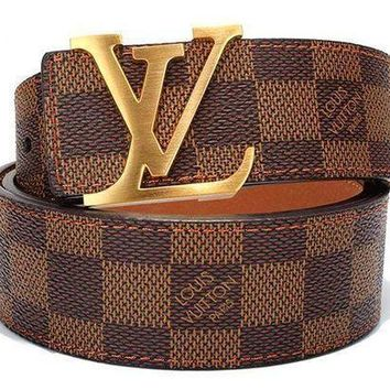 DCCK Authentic Louis Vuitton Ceinture LV Monogram Leather Belt Size 110/40mm G