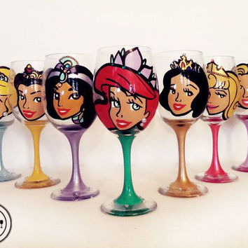 Disney Princess Wine Glasses - pearls and rhinestones - set of 7 glasses