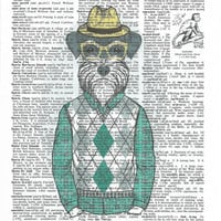 Dressed up Terrier Dictionary Art Print on Upcycle Vintage Page Book Print Art Print Dictionary Print Collage Print