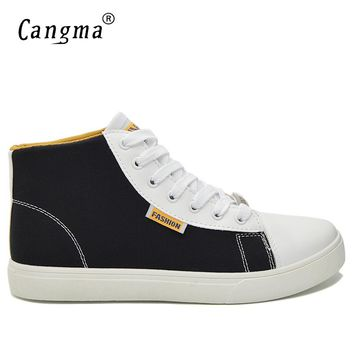CANGMA Original Brand Canvas Sneakers Men Black And Red High Casual Shoes Multi-Colored Man's Lace Up Trainers Male Bass Shoes