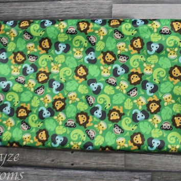 PLEASE READ to ORDER! Jungle Friends Green Background One Size Pocket Diaper or Diaper Cover