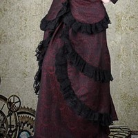 Ladies Red & Black Lace Button Down Victorian Steampunk Skirt. 1 of 2 Piece Womens Skirt & Blouse