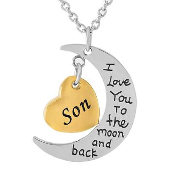 IJD9468 Customized Engravable Son/Dad/Daughter Gold Heart Cremation Urn Necklace Charm - I Love You To The Moon And Back