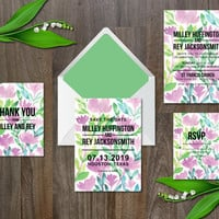 Wedding Invitation Suite Digital & Instant Download Printable Templates - watercolor flowers