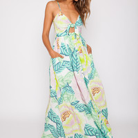 Mara Hoffman || Tie front maxi dress in flora stone