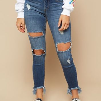 Medium Wash Distressed Frayed Ankle Booty Jeans