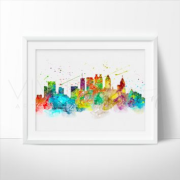 Atlanta Skyline Watercolor Art Print
