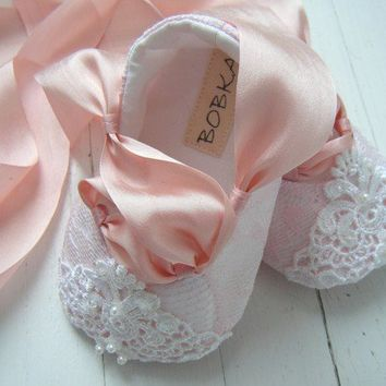 Fairytale Princess Pink Lace Ballet Shoe For Your by BobkaBaby