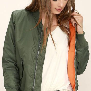 Long Distance Love Olive Green Bomber Jacket