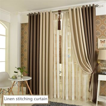 [byetee] High Quality Beige Coffee Bedroom 100% Blackout Window Curtains Living Room Study Window Curtains Linen Window Curtain