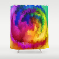 Abstract multi colorful fun circle drip paint Shower Curtain by Healinglove
