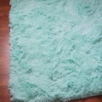 College Plush Rug - 4' X 6' - Calm Mint