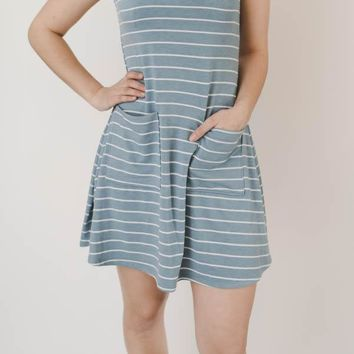 Striped T-Shirt Dress - Blue