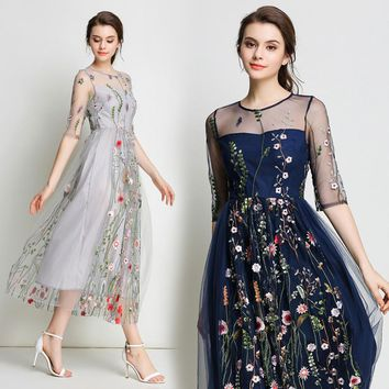 Fitaylor 2018 Summer Lace Mesh Embroidery Long Dress Evening Party Sexy Floral Dresses O Neck Half Sleeve Vestidos Mujer