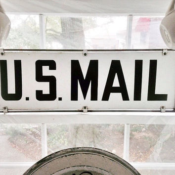 U.S. Mail Sign / Vintage Postal Service Post Office Sign / Double Sided Mail Sign