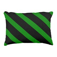 Cute Striped Pattern in Black and Kelly Green Accent Pillow