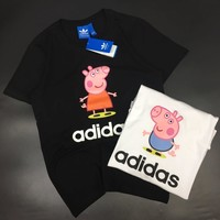 """Adidas x Peppa Pig"" Unisex Casual Fashion Cute Cartoon Letter Print Couple Short Sleeve T-shirt Top Tee"