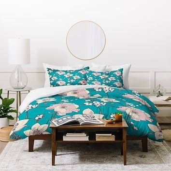 Rachelle Roberts Painted Poppy In Turquoise Duvet Cover