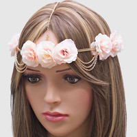 Festival Boho Roses Head Chain Flower Crown Headband - Light Pink