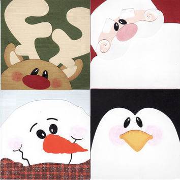Handmade Holiday Cards, Christmas Cards set, Santa, Penguin, Reindeer, Snowman faces, set of 4 greeting cards