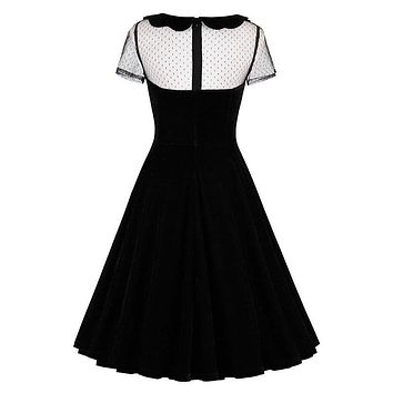 Sisjuly retro women dress black vintage 1950s summer elegant dress sexy hollow out peter pan collar gothic 2017 vintage dress
