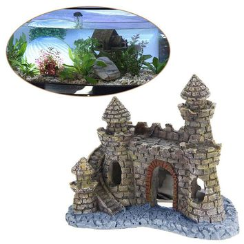 Polyresin Castle Tower Aquarium Ornament Fish Tank Decoration Accessories-Y102