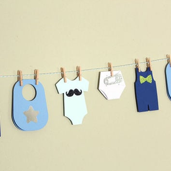 Baby Shower Garland Kit (Boy) - wishes for baby banner, advice cards, Onesuit paper garland
