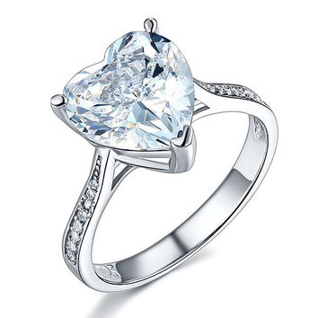 925 Sterling Silver Bridal Engagement Ring 3.5 Carat Heart Simulated Diamond Jewelry