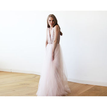 Pink Sequins and Tulle Maxi Gown 1094