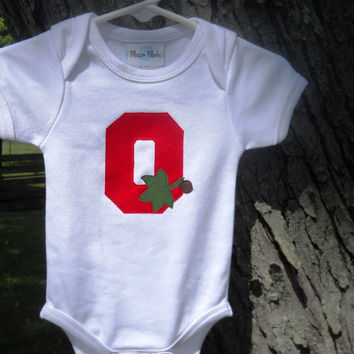 Ohio State Baby Girl Bodysuit Block O With Leaves Organic Cotton Birthday Gift Long or Short Sleeve Made To Order