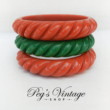 Vintage Lucite Trio Carved Matching Bangle/Bracelets, Green, Orange Bangles, Ladies Fashion Jewelry
