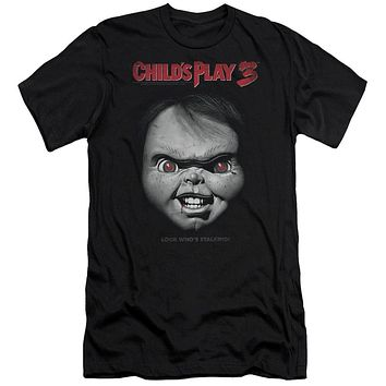 Childs Play Premium Canvas T-Shirt Chucky Look Whos Stalking Black Tee
