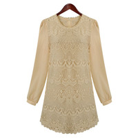 Ivory Embroidery Lace Body Chiffon Sleeves Shift Dress