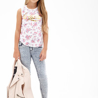 FOREVER 21 GIRLS Floral Dreamer Graphic Tank (Kids) Cream/Pink
