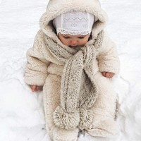 Beige Plain Hooded Going out Fashion Baby Long Jumpsuit