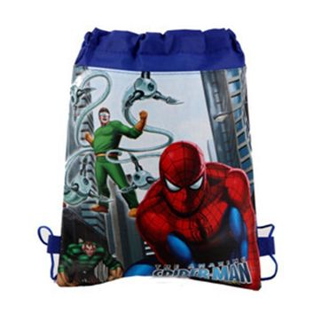 12Pcs Superhero Spiderman Cartoon Non-Woven Fabric Drawstring Bags Backpack Baby Shower Birthday Party Shopping Traveling Bags