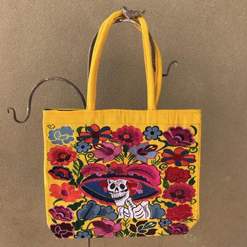 Catrina Embroidered Tote Yellow