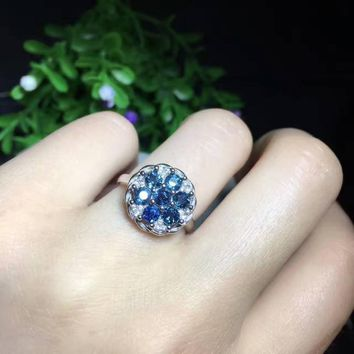 Natural blue sapphire stone Ring Natural gemstone ring 925 sterling silver trendy elegant great round women girl party Jewelry
