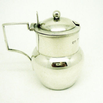 Unusual Solid Silver Mustard Pot, Sterling, Antique, Victorian, English, Condiment, Hallmarked Birmingham 1892, REF:254R