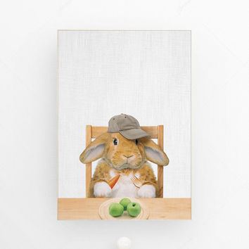 Rabbit print nursery decor rabbit art nursery animal kids decor nursery wall art woodland nursery baby animal art children prints poster art