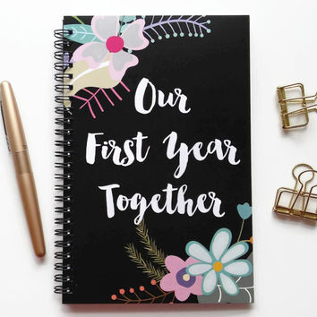 Writing journal, spiral notebook, bullet journal, floral, sketchbook, blank lined or grid paper, anniversary gift - Our first year together