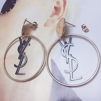 YSL style exaggerated temperament large round letter pendant earrings female