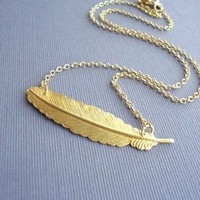 Gold Feather Necklace Wing Bird Feather by AnechkasJewelry on Etsy