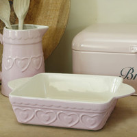 Pink Hearts Square Oven Dish